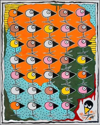 "Along Came Uno • acrylic on canvas • 30"" x 24"" • $2,200"