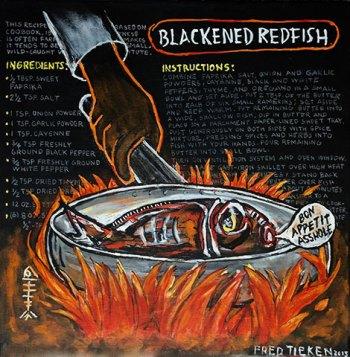 """Blackened Redfish • acrylic on canvas • 20"""" x 20"""" • $1,200"""