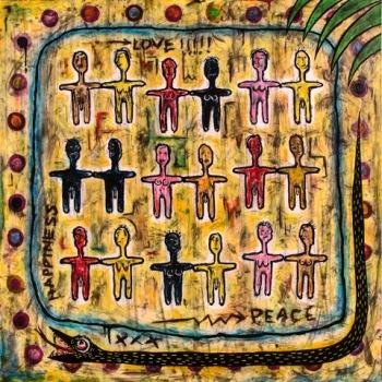 """Coexistence • acrylic on canvas • 48"""" x 48"""" • $6,300"""