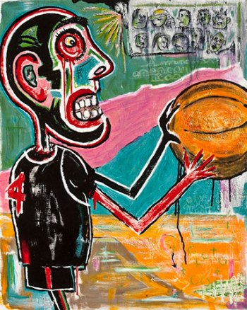 "Double Overtime • acrylic & oil stick on canvas • 30"" x 24"" • $1,450"