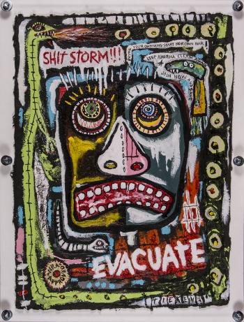 "Evacuate! • acrylic on handmade paper w/wood & Plexiglas • 41 ½"" x 31 ½"" • $6,500"
