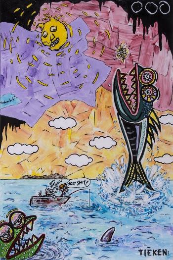 "Fish Story • acrylic on wood • 36"" x 24"" • $3,500"