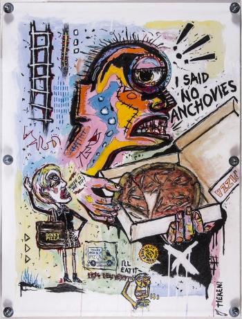 I said no Anchovies! • acrylic on wood panel w/Plexiglas • 41 ½ x 31 ½ • $6,500