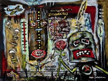 "Mass Hysteria • acrylic on canvas w/wood frame • 18"" x 24"" • $1,500"