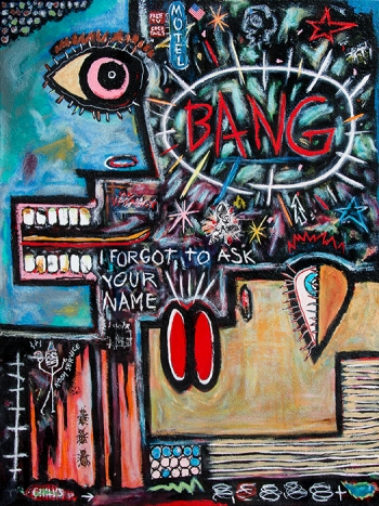 "Motel Bang • acrylic & collage on canvas • 48"" x 36"" • $4,800"