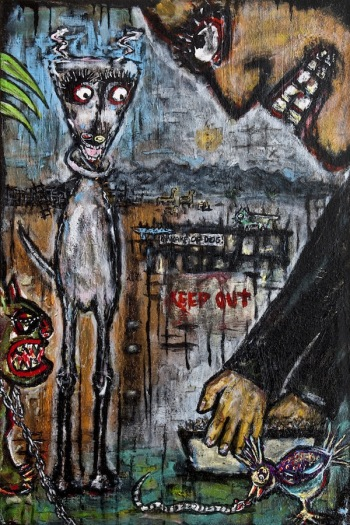 "Petting Zoo • acrylic on canvas • 36"" x 24"" • $2,400"