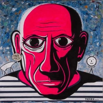 """Pink Pablo • acrylic on wood panel• 40"""" x 40"""" • $6,500"""