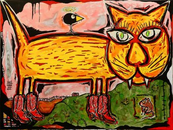 "Puss in Boots • acrylic on canvas w/ floating frame• 36"" x 48"" • $5,500"