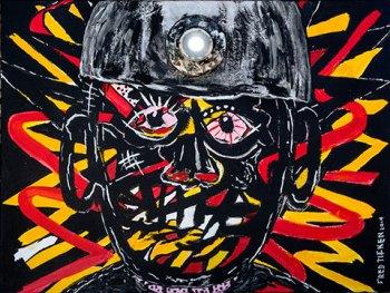 "The Coal Miner • acrylic w/LED light on canvas • 18"" x 24"" • $1,100"