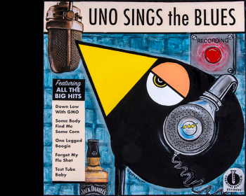 "UNO Sings the Blues • acrylic, collage and found objects • 24"" x 30"" • $2,900"