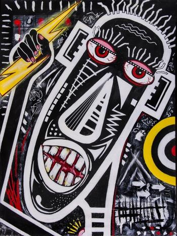 """Volt Catcher • acrylic on canvas • 40"""" x 30"""" • $4,400"""