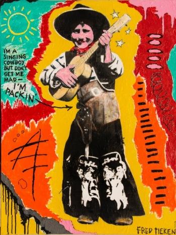 "Yippie-yi-yo-Kayah • acrylic on paper mounted on canvas • 40"" x 30"" • $3,900"