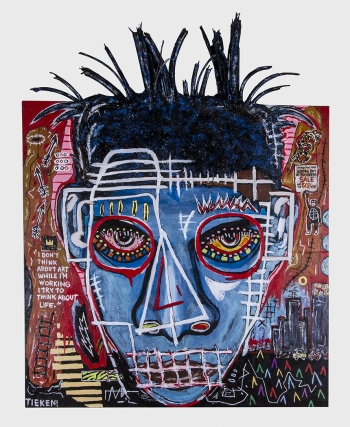 "Blue Basquiat • acrylic & rubber on wood panel • 48"" x 40"" * $6,500"