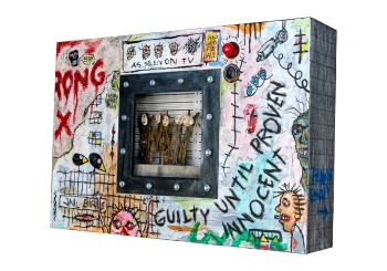 "And Justice for All • acrylic on Gatorboard w/wood, vinyl & found objects in LED lighted shadowbox • 24"" x 36""  • $6,900"