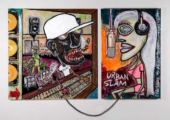 "Badass Records • acrylic, found objects & Plexiglas on canvas (2) panels – total dimension 36"" x 61"" • $6,400"