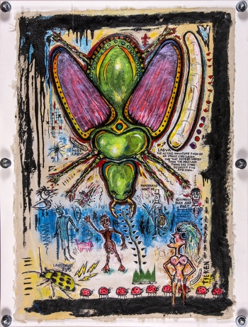 Beetlemania • acrylic & found objects on handmade paper w/wood & Plexiglas •  41 ½ x 31 ½ • $6,500