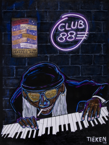 "Club 88 • acrylic/collage on wood • 40"" x 30"" • $4,800"