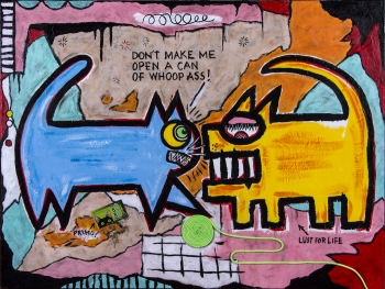 "Krazy Kitty • acrylic & found objects on canvas • 30"" x 40"" • $3,900"