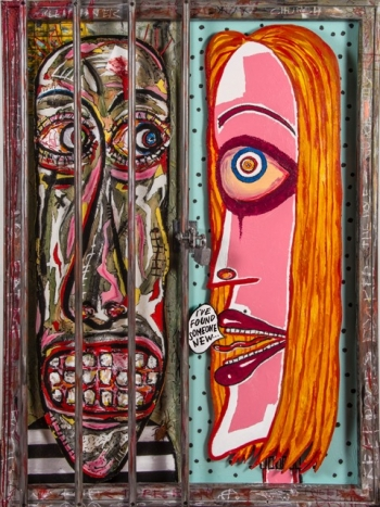 "Maximum Security • acrylic on canvas & Gatorboard, PVC & found objects • 40"" x 30 • $5,400"