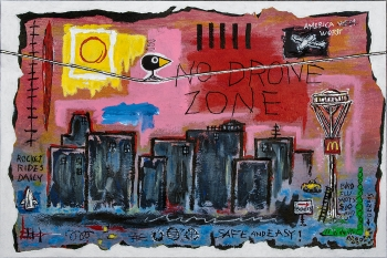 "No Drone Zone • acrylic & found object on canvas • 24"" x 36"" • $2,600"