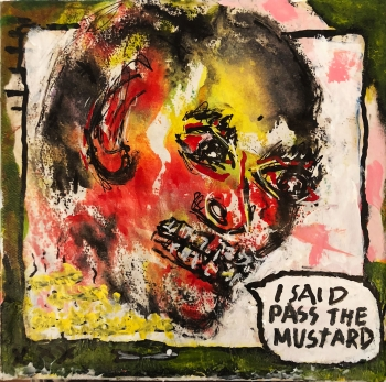 "Pass the Mustard • acrylic on canvas w/ floating frame • 8"" x 8"" • $400"