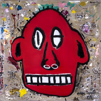 "Red Fred (self portrait) • acrylic on wood panel • 40"" x 40"" • $6,500"