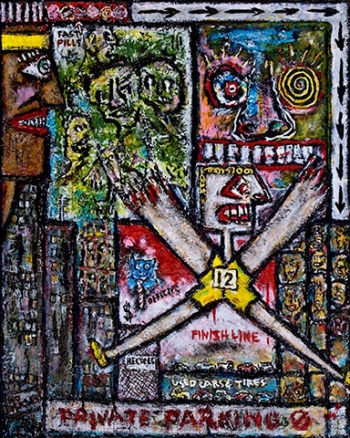 "The 10K Runs • acrylic & found objects on canvas • 30"" x 24"" • $1,450"