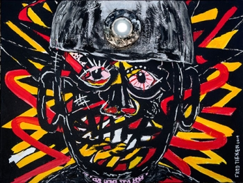 "The Coal Miner • acrylic w/LED light on canvas • 18"" x 24"" • $1,100"