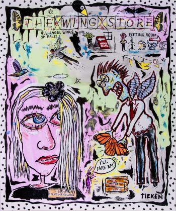 "The Wing Store • acrylic/collage on canvas • 36"" x 30"" • $4,400"