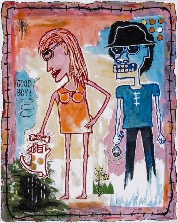 "Walkin' the Dog • acrylic & found objects on canvas • 30"" x 24"" • $2,900"